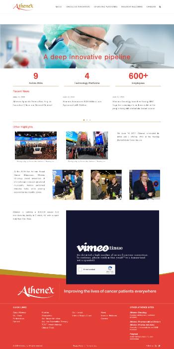 Athenex, Inc. Website Screenshot