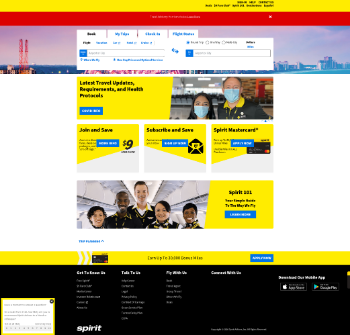 Spirit Airlines, Inc. Website Screenshot