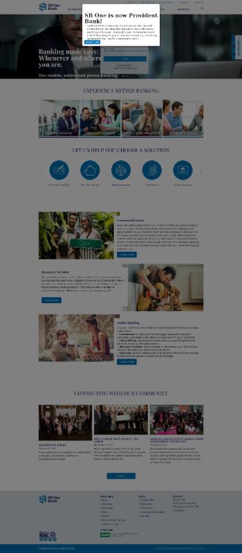 SB One Bancorp Website Screenshot