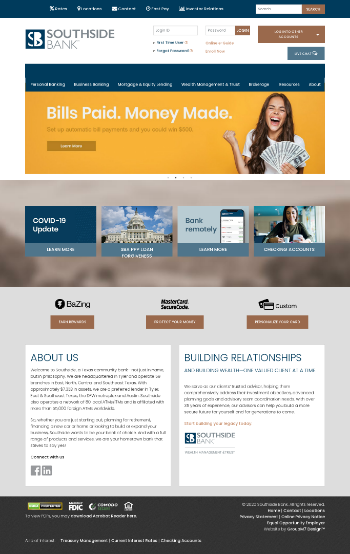Southside Bancshares, Inc. Website Screenshot