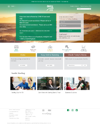 Sterling Bancorp, Inc. (Southfield, MI) Website Screenshot