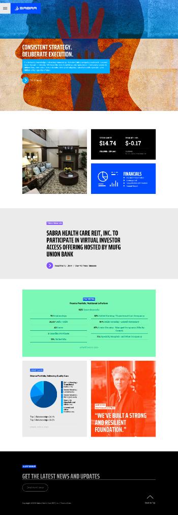 Sabra Health Care REIT, Inc. Website Screenshot