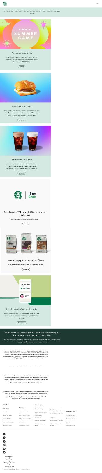 Starbucks Corporation Website Screenshot