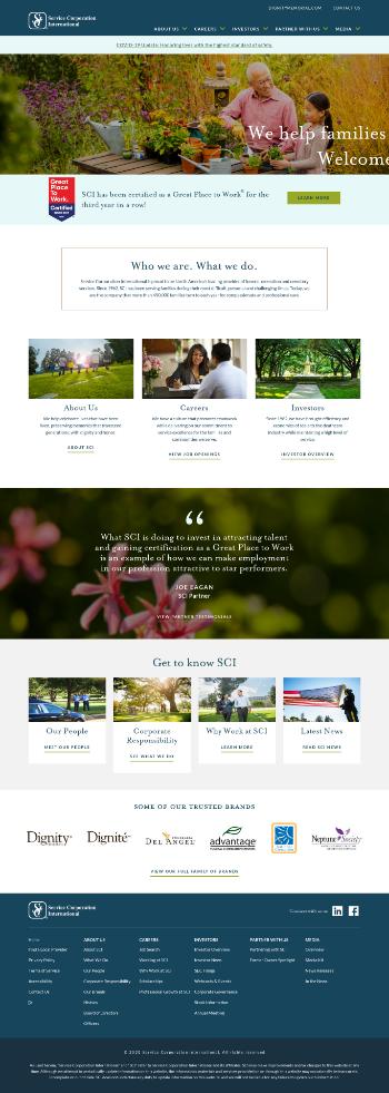 Service Corporation International Website Screenshot