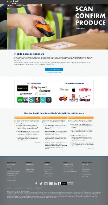 Socket Mobile, Inc. Website Screenshot
