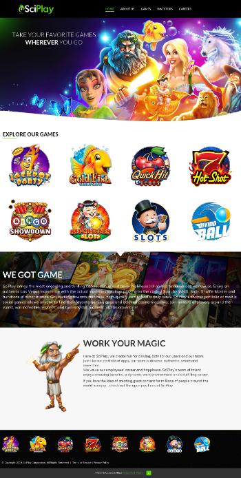 SciPlay Corporation Website Screenshot