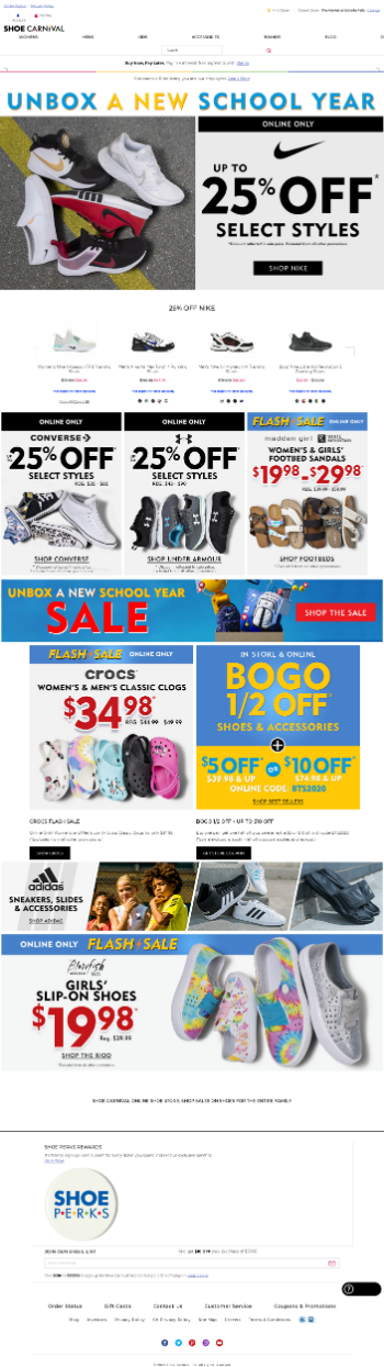 Shoe Carnival, Inc. Website Screenshot