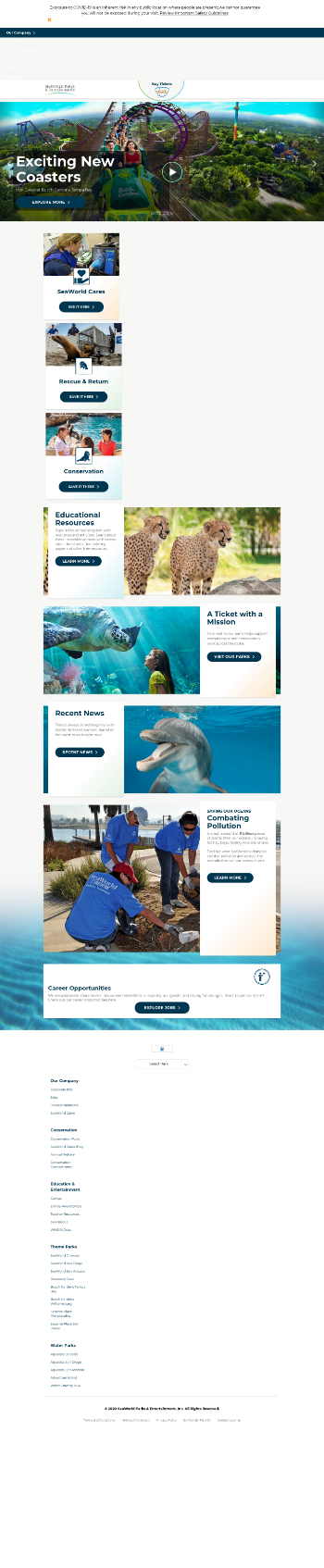 SeaWorld Entertainment, Inc. Website Screenshot