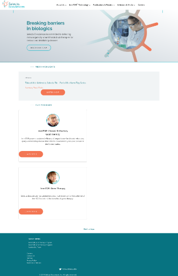 Selecta Biosciences, Inc. Website Screenshot