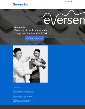 Senseonics Holdings, Inc. Website Screenshot
