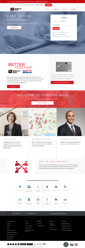 Simmons First National Corporation Website Screenshot