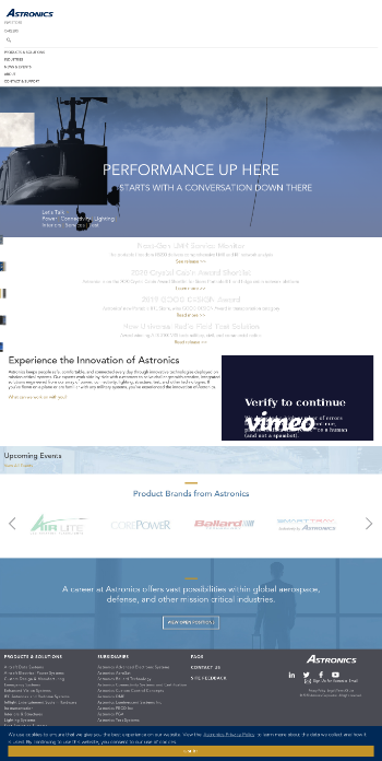 Astronics Corporation Website Screenshot