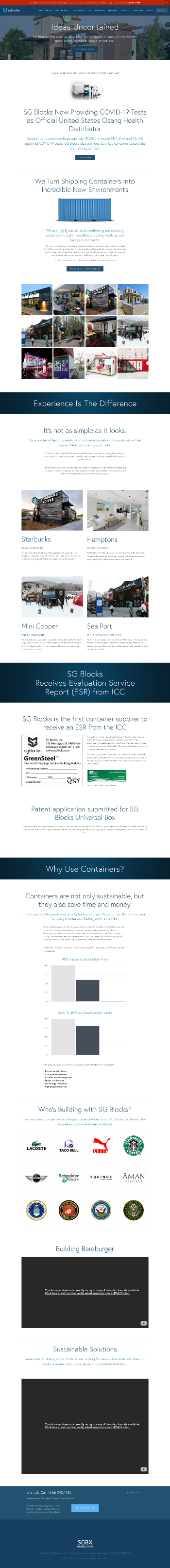 SG Blocks, Inc. Website Screenshot