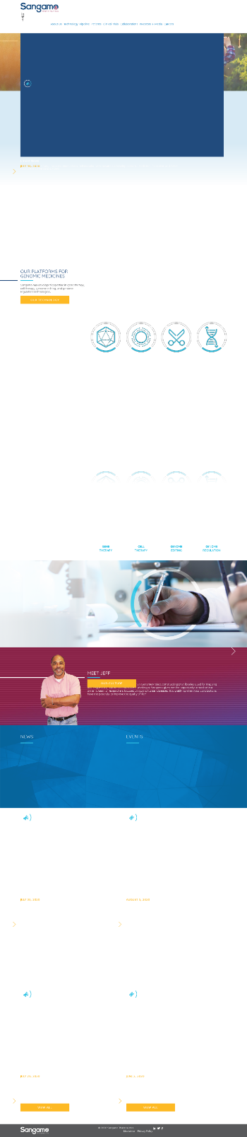 Sangamo Therapeutics, Inc. Website Screenshot