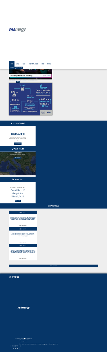 Seanergy Maritime Holdings Corp. Website Screenshot