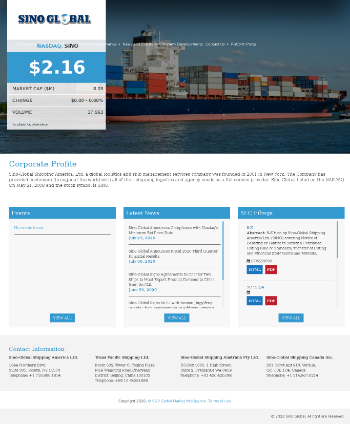 Sino-Global Shipping America, Ltd. Website Screenshot