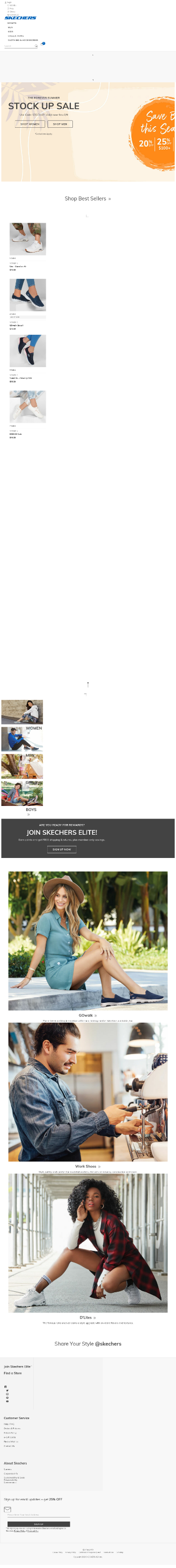 Skechers U.S.A., Inc. Website Screenshot