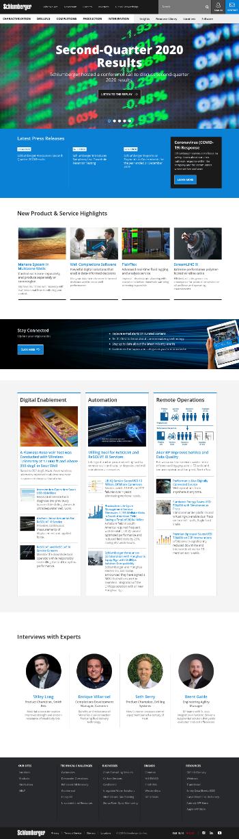 Schlumberger Limited Website Screenshot