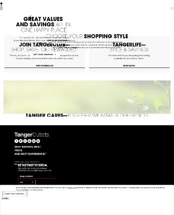 Tanger Factory Outlet Centers, Inc. Website Screenshot