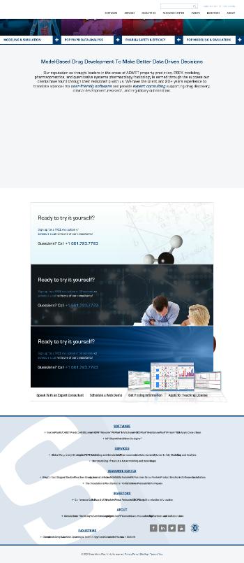 Simulations Plus, Inc. Website Screenshot