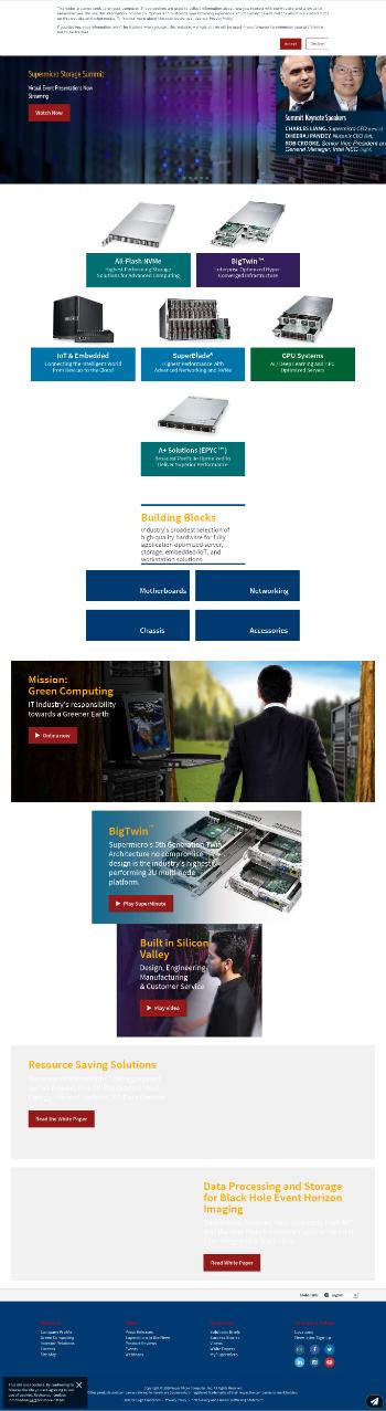 Super Micro Computer, Inc. Website Screenshot