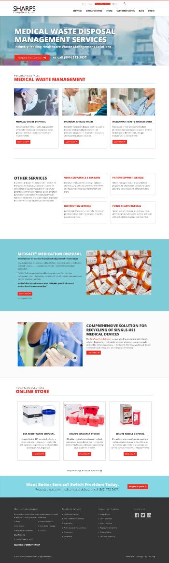 Sharps Compliance Corp. Website Screenshot