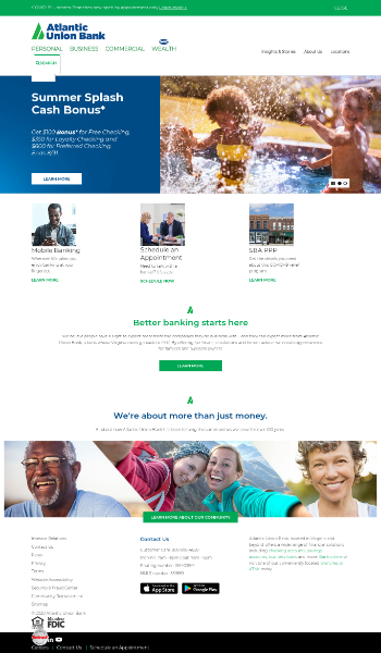 Atlantic Union Bankshares Corporation Website Screenshot