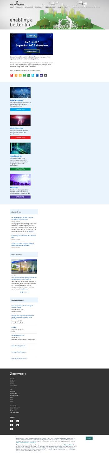Semtech Corporation Website Screenshot