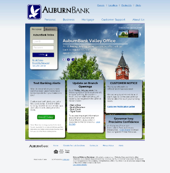 Auburn National Bancorporation, Inc. Website Screenshot