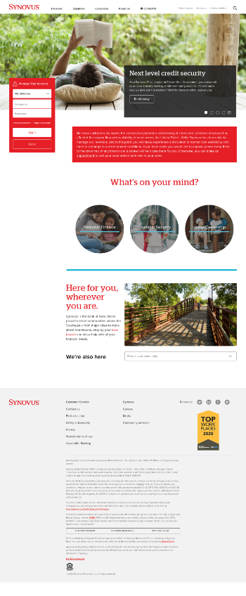 Synovus Financial Corp. Website Screenshot
