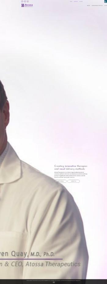 Atossa Therapeutics, Inc. Website Screenshot