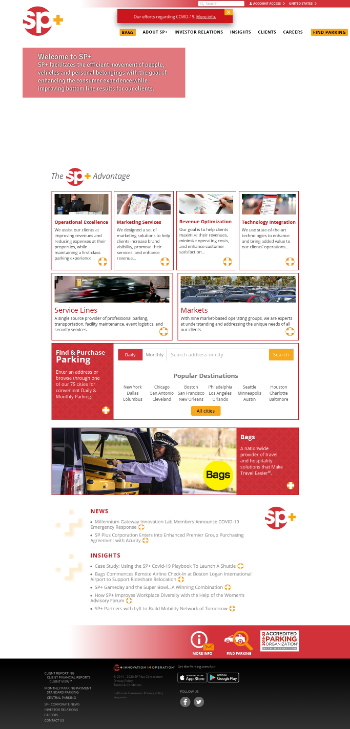 SP Plus Corporation Website Screenshot