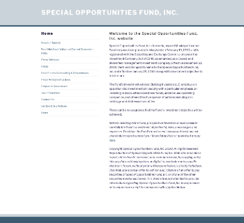 Special Opportunities Fund, Inc. Website Screenshot