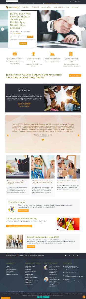 Spark Energy, Inc. Website Screenshot