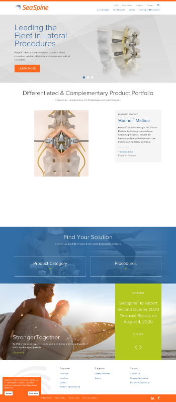 SeaSpine Holdings Corporation Website Screenshot