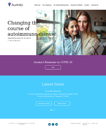Aurinia Pharmaceuticals Inc. Website Screenshot