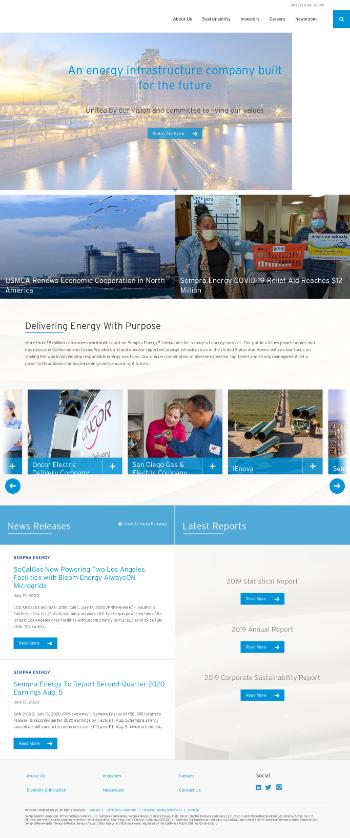 Sempra Energy Website Screenshot