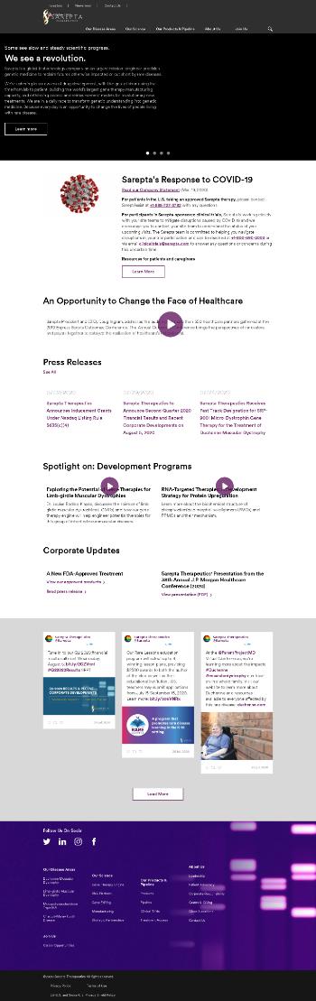 Sarepta Therapeutics, Inc. Website Screenshot