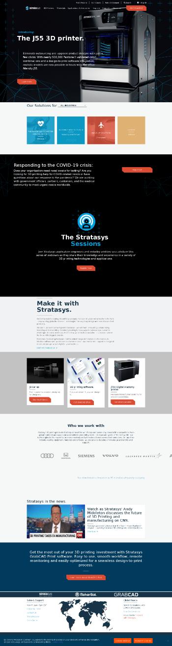 Stratasys Ltd. Website Screenshot