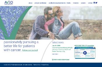 AVEO Pharmaceuticals, Inc. Website Screenshot