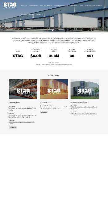 STAG Industrial, Inc. Website Screenshot
