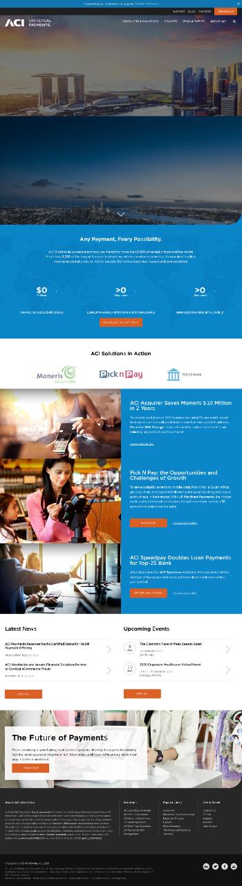 ACI Worldwide, Inc. Website Screenshot