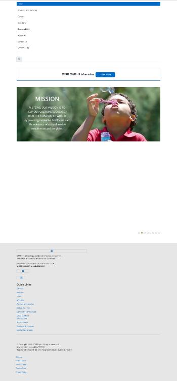 STERIS plc Website Screenshot
