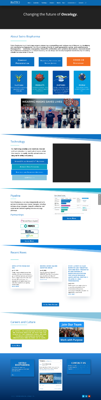 Sutro Biopharma, Inc. Website Screenshot