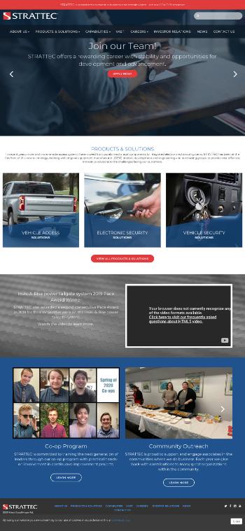 Strattec Security Corporation Website Screenshot