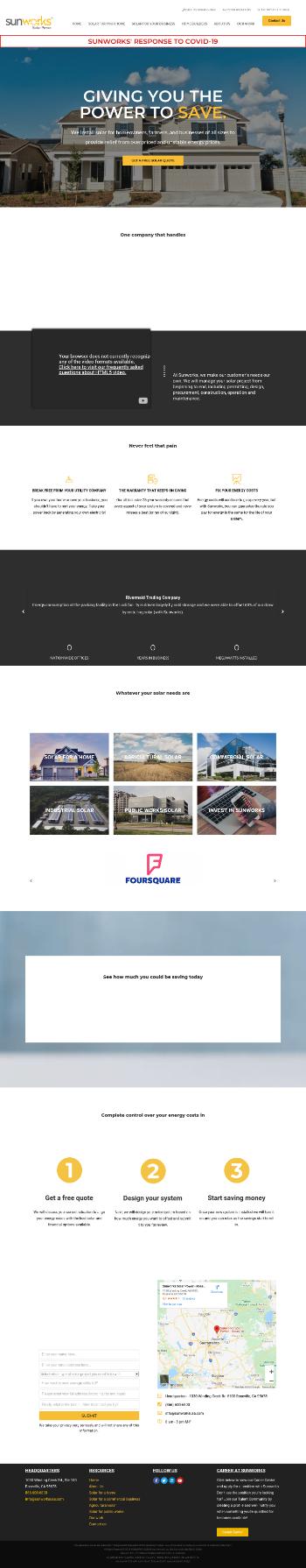 Sunworks, Inc. Website Screenshot