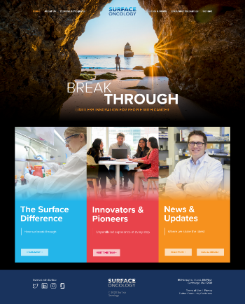 Surface Oncology, Inc. Website Screenshot