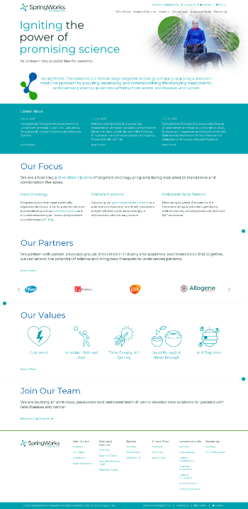 SpringWorks Therapeutics, Inc. Website Screenshot