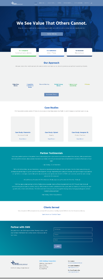SWK Holdings Corporation Website Screenshot