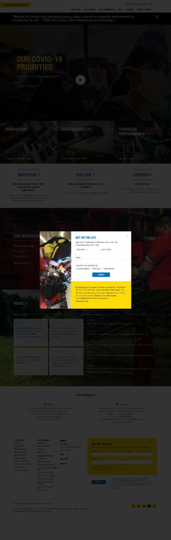Stanley Black & Decker, Inc. Website Screenshot